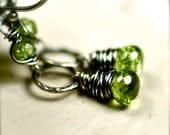 Peridot Earrings Wire Wrapped Peridot on Oxidized Sterling Silver August Birthday