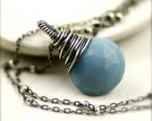 Blue Opal Necklace on Oxidized Sterling Silver