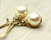 White Freshwater Pearls Wire Wrapped Earrings 14K Gold Fill