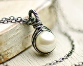 White Freshwater Pearl Necklace on Oxidized Sterling Silver