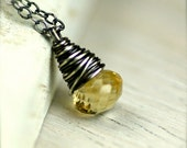 Light Yellow Citrine Onion Necklace on Oxidized Sterling Silver November Birthstone