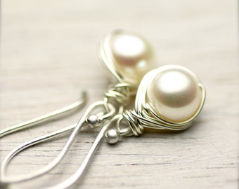White Freshwater Pearls Wire Wrapped Earrings on Bright Sterling Silver