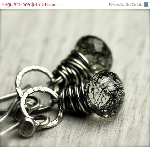Holiday SALE 15% DISCOUNT Tourmalinated Quartz Earrings...Storm