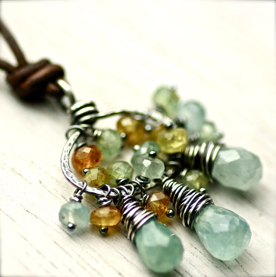 Wire Wrapped Multicolor Aquamarine Gemstone Cluster Necklace on Oxidized Sterling Silver and Leather