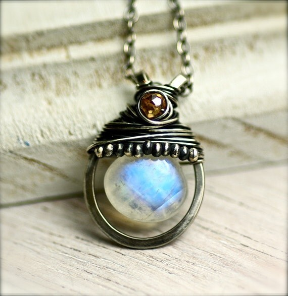 Wire Wrapped Rainbow Moonstone and Mystic Champagne Quartz Gemstone Necklace