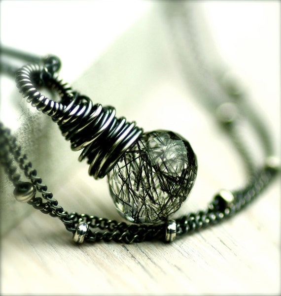 Tourmalinated Quartz Necklace...Storm