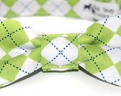 Green Argyle Dog Collar or Cat Collar and Matching Bow Tie Set