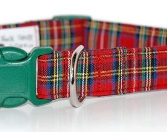 Red  Plaid,,, Custom Plaid  Dog Collar