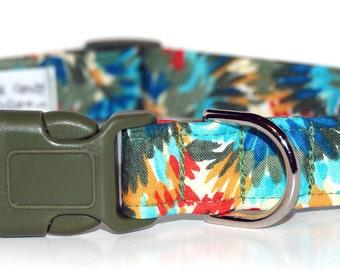Jungle Flowers,,,,,Custom Dog Collar