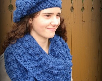 Slouchy Crochet Bobble Hat with matching Infinity Scarf