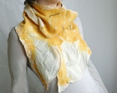 Sunflower felted wool silk scarf in yellow white black geometric woman girl - teamcamelot tbteam