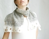 Python light scarf hand felted of wool silk in black white