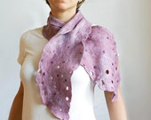 Purple pink urban romantic scarf hand felted