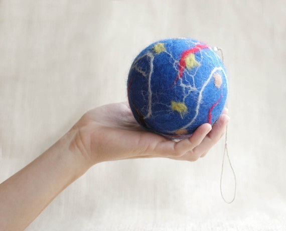 Christmas ornament felted wool silk decoration in blue azure red extra large family gift under 20