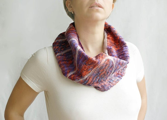 Nuno felted orange purple cowl urban scarf wool silk light for woman, mom, her eco friendly