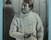 Vintage Patons & Baldwins knitting pattern for a mans aran cabled sweater