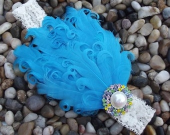 SALE** Vintage Blue Nagorie Feather Headband with Rhinestone Newborn Infant Girl Baby Headband Photo Prop