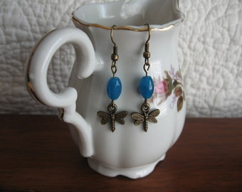 Chalcedony and Dragonfly Earrings