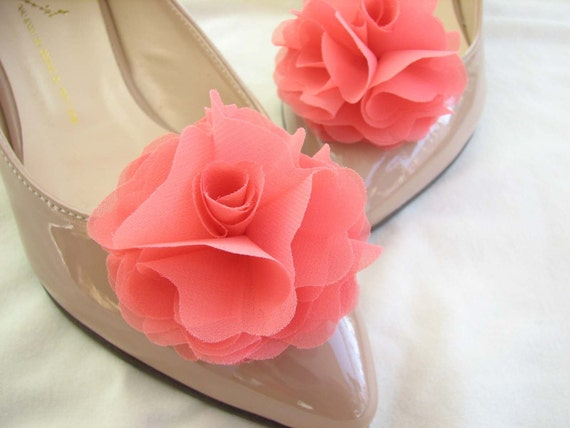 chiffon flower shoe clips in coral pink