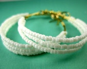 Bright White Gold Beaded Hoop Earrings - Small Size