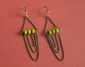 Chain Chandelier Earrings - Pea Green Czech Glass Rondelle and Draped Antiqued Brass Chain