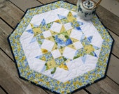 Summer Breeze 27 inch quilted table centerpiece in blue and yellow