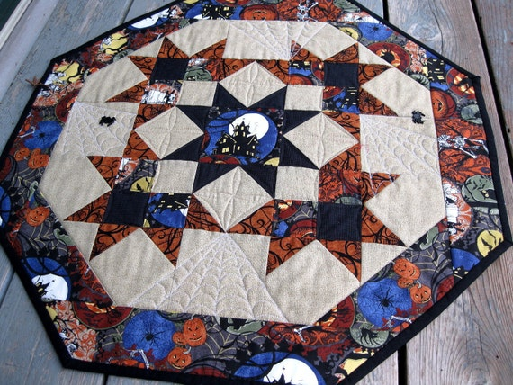CLEARANCE Haunted Mansion 27 inch quilted table centerpiece in Halloween fabrics