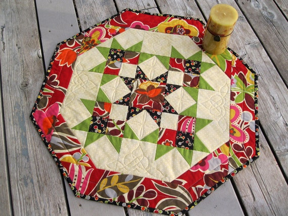 Funky Flowers 26 inch quilted table centerpiece in lime, black, orange and red