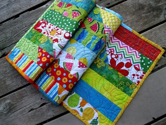 Summer Fun 15x39 bright colored quilted tablerunner