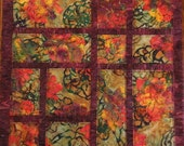 Handcrafted  Batik Quilted Floral Pillow Cover/Table Topper Red floral