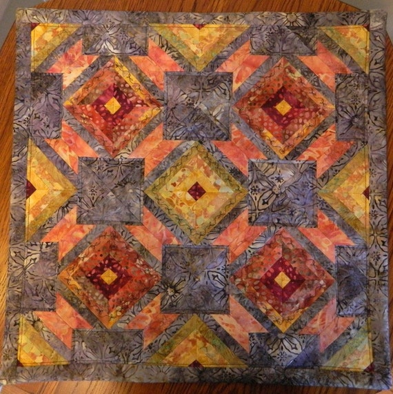 Handcrafted Batik Quilted Pillow Cover/ Table topper