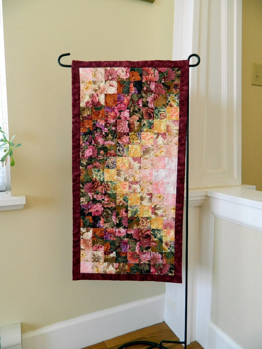 Down The Garden Path Quilted Table Runner Wall Hanging