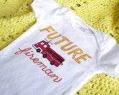 FUTURE Fireman Hand-painted onesie size 18 months