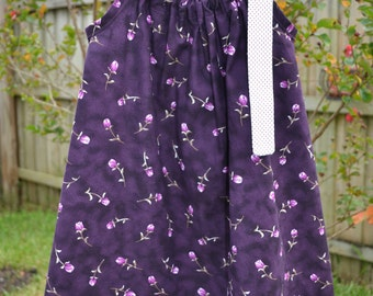 SALE - Purple Roses Easter Pillowcase Dress - Floral Dress - Baby Dress - Toddler Dress - Little Girls Dress