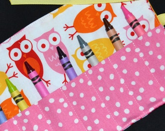 Pink Owls Crayon Roll Birthday Party Favors - Girls Christmas Gift - Urban Zoologie - Crayon Storage - Crayon Holder - Crayon Keeper