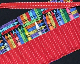 Red Crayons Birthday Party Favors - Crayon Roll Keeper Holder Tote Storage - Gift, Toy, Crayon Organizer, Easter Gift - Toddler Gift