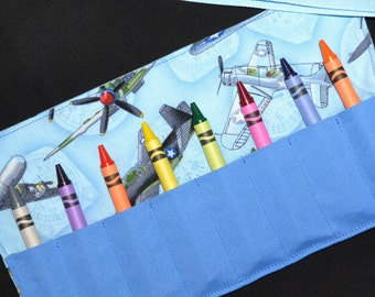 Airplanes Birthday Party Favor - Crayon Roll - Boys Gift - Crayon Keeper - Crayon Holder - Planes - STOCKING STUFFER