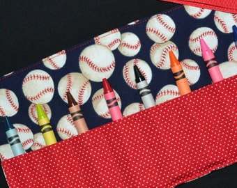 Baseball Crayon Roll Boys Birthday Party Favor - gift - crayon keeper holder