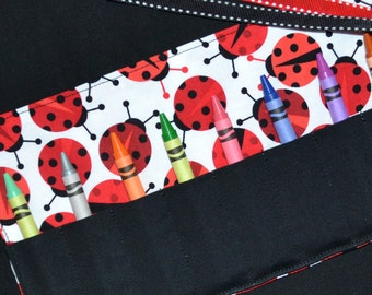 Red and Black Ladybug Crayon Roll - little girls STOCKING STUFFER - Ladybug Birthday Party Favors, Easter Gift, Crayon Holder