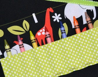 BOYS STOCKING STUFFER - Crayon Roll Up with Crayons - Safari Zoo Animals Birthday Party Favors - Crayon Holder Keeper - Zoology - Boys Gift
