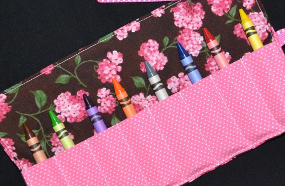 SALE - Pink Hydrangea Crayon Roll Birthday Party favors - Crayon Holder - Crayon Keeper