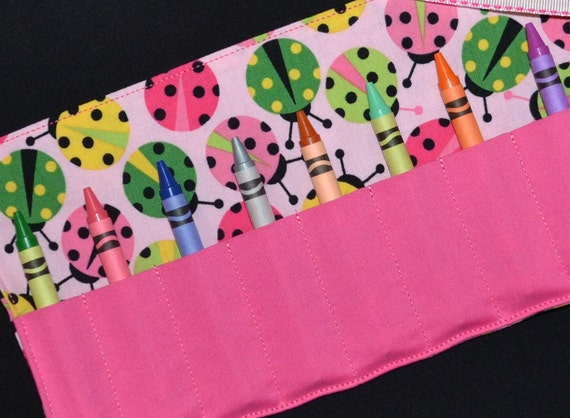 Pink Ladybugs Crayon Roll Party Favors - Toddler Christmas Gift STOCKING STUFFER Crayon Holder Keeper - Gift - Ladybugs Birthday