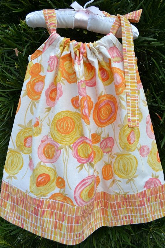 Summer dress for little girls, Orange Floral Pillowcase Dress, Summer Baby Toddler Child Dress, Spring dress, baby shower gift