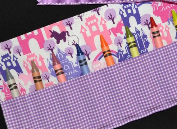 Little Girls STOCKING STUFFER - Princess Castles Crayon Roll Party Favor - Princess Birthday - Crayon Keeper - Gift