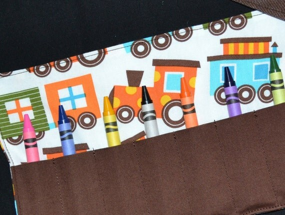 Boys STOCKING STUFFER Colorful Trains Crayon Roll - Train Birthday Party Favors - Boys Gift - Crayon Holder - Crayon Keeper