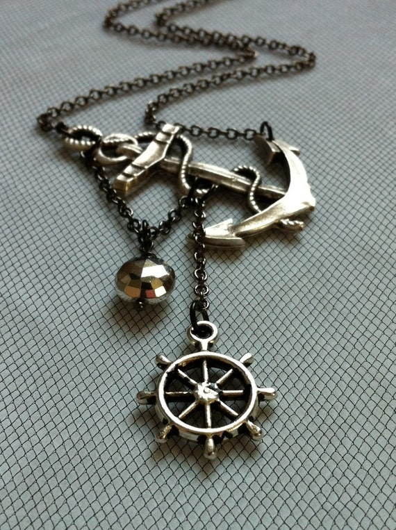 Reserved Lost at Sea Necklace by SBC Silver Plated Anchor Faceted Silver Pyrite Silver Ship Wheel Gunmetal Chain Free Shipping Made to Order