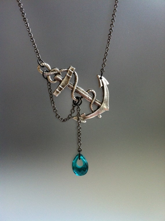 Reserved for Hannah Lost at Sea Necklace by SBC Teal Blue Quartz Hoop Briolette Silver Plated Anchor Gunmetal Chain Free Shipping Worldwide