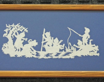 Summer Time  - Scherenschnitte - Hand Paper Cutting Art signed and dated By Janet Lynch -6x11 Framed