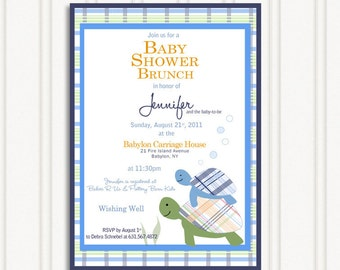 Cute and Preppy Turtle Party Invitation - Baby Shower, Birthday Party