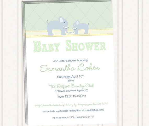 Adorable Elephant Baby Shower Invites
